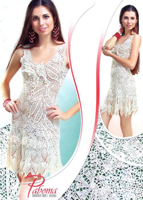 Красивое белое платье крючком 7