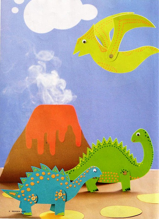 Динозавр из цветной бумаги