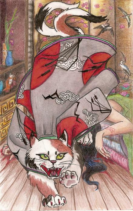 Японская мифология 75833716_Nekomata__demon_form_by_ChatLunatique__1_