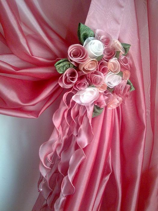 как сшить розу из ткани - Сумки.
