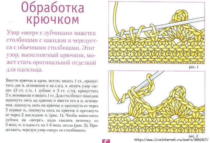 Схема вязания спицами зубчатого края