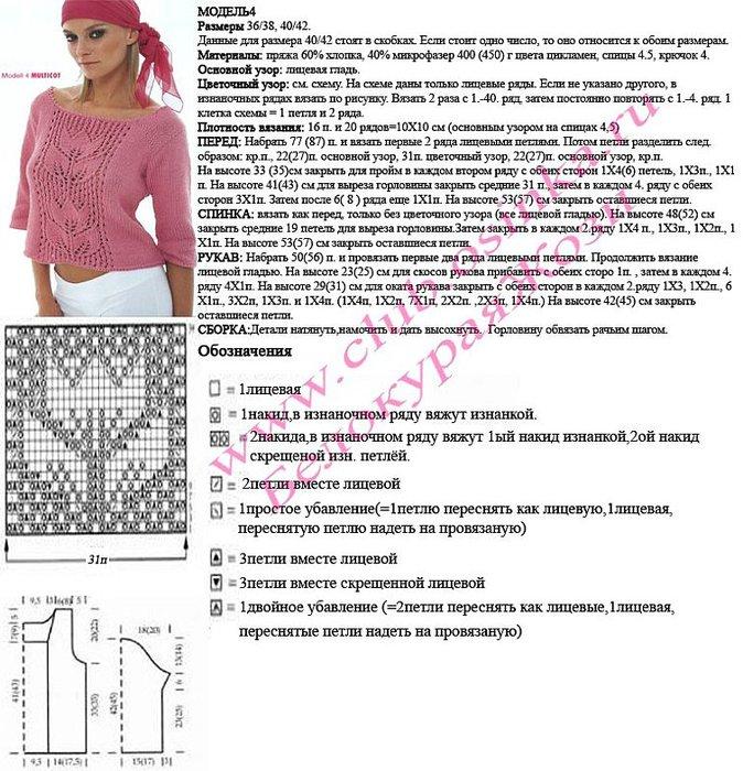 Вязание спицами женская кофта с описанием схем 830