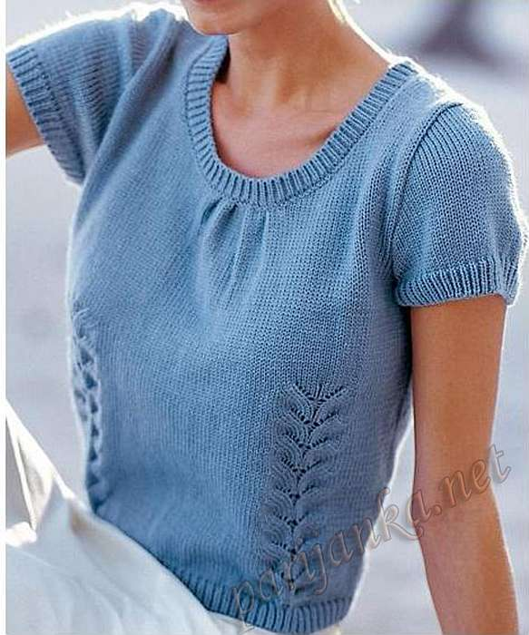 Вязание летней кофточки с коротким рукавом