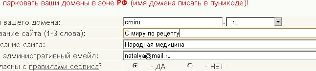 Заполнение формы для создания сайта (646x146, 5Kb)