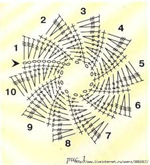 Схема вязания крючком лепестков 35