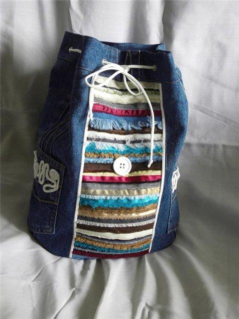 А это такая торбочка.  Мне очень нравятся сумки из джинсов, тут полет...