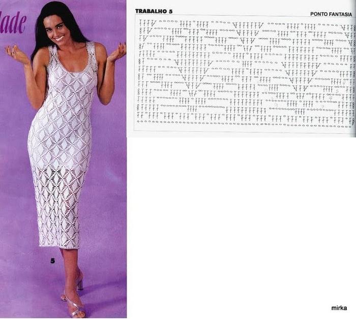 Узор вязания для летнего платья 807
