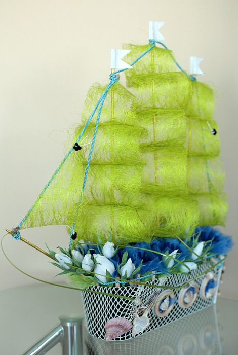 Автор Кэцик. и. Корабль - подарок из конфет.  Идеи и маленький мастер-класс. http://stranamasterov.ru/node/216059.