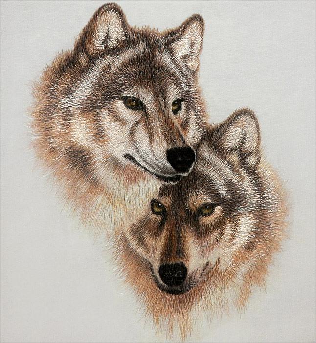 """Оригинал схемы вышивки  """"пара волков """" ."""