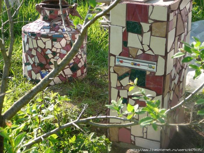 Бидон и подставка для садового столика .  (Осколки плитки и что можно из них сделать).  Я человек творческий и...