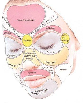 Nastiya.  IMG.  По области на лице, где расположились прыщи, можно узнать с какими органами у вас непорядки.