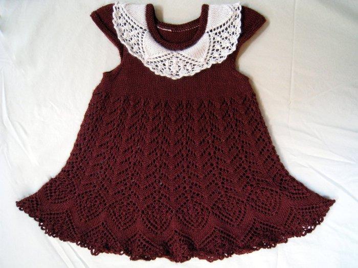 Ажурное платье шоколадного цвета с белым воротничком спицами для девочки /4683827_20120411_181730 (637x525, 93Kb) .