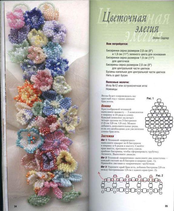 Очень красивый браслет из бисера.  Источник http://stranamasterov.ru/node/72396.  Прочитать целикомВ.