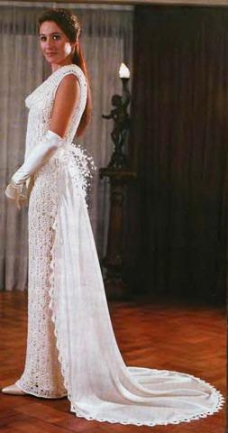 Описание: платья свадебные вязанные крючком.