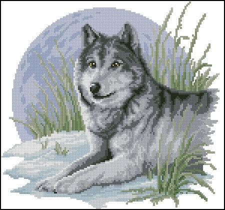 """Из нахомяченного когда-то на просторах тырнета.  Вышивка  """"Волк """" (Схема) ."""