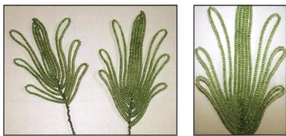 ...(14 бисеринок) Ну а в самом конце крепятся лепестки цветка (5 штук, равномерно по кругу) Листики анемона во.