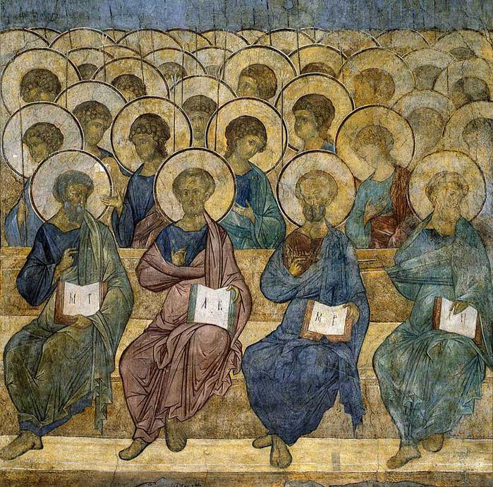 Апостолы и ангелы Фрески Успенского собора (700x690, 310Kb)