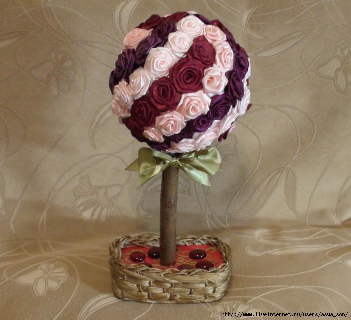 Цветочное дерево из лент своими руками