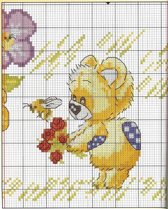 Прелестные медвежата - схемка вышивки очень милая, нежная, очень подойдет такая картинка для детской комнаты.