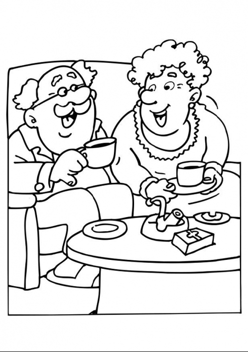 Раскраска дедушка и бабушка