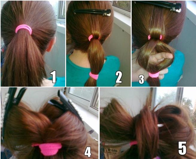 Как сделать девочки причёску бантик