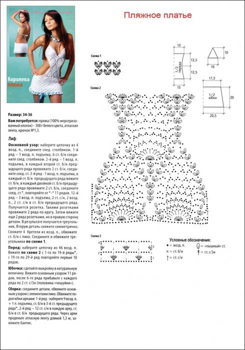 Пляжные платья вязанные крючком схема и описание