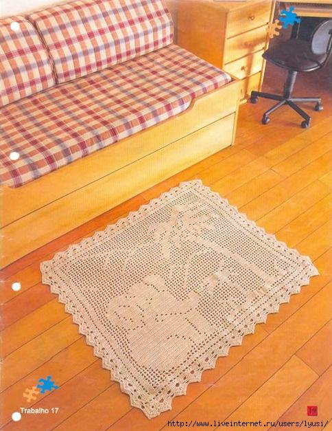 Вязание ковриков крючком по объемной схеме на филейной сетке 58