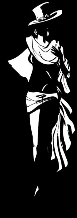 Черно белый силуэт женщины