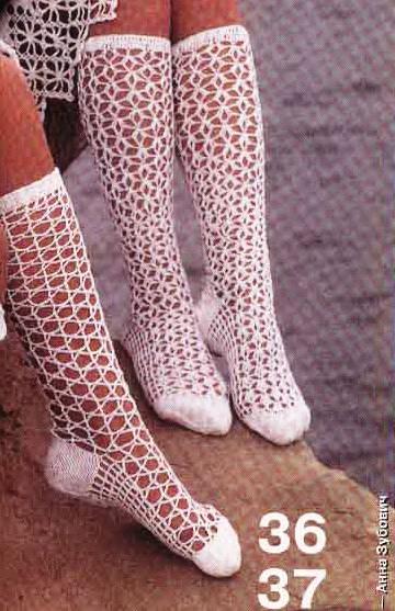 вязаные носки и гольфы крючком