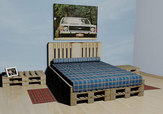 Проще всего из поддонов сделать кровать.  Для этого всего-навсего нужно положить поддоны друг на друга и сверху...