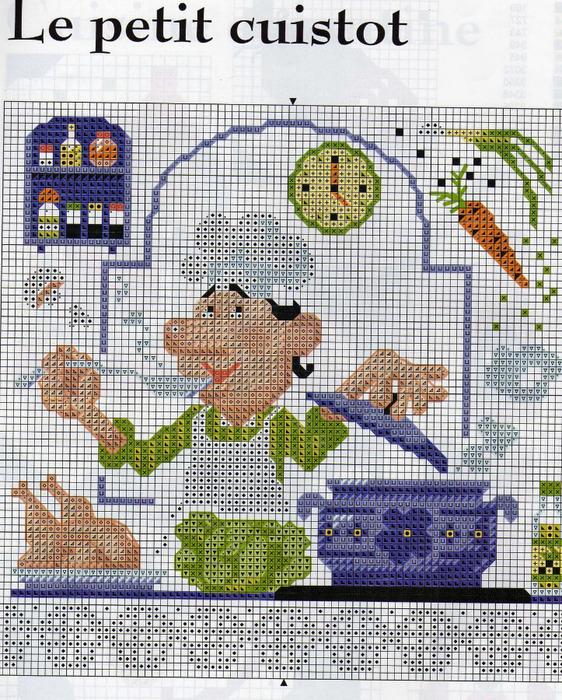 Вышивка схемы для кухни часы 49