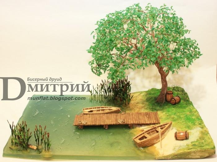 Оформление деревьев из бисера важнее самого растения.  Это придает изделию завершенность - танец и поклон)...
