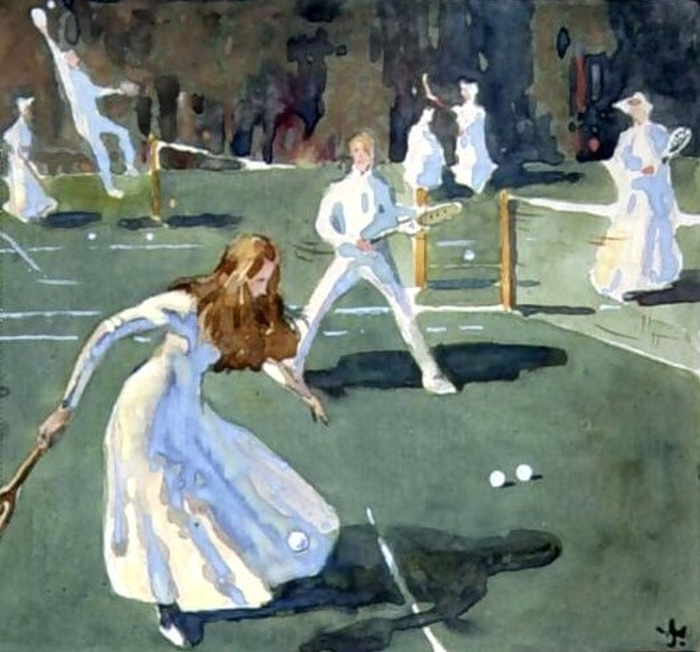 James Wallace (British artist, 1872-1911) A Game of Tennis in Battersea Park (700x652, 284Kb)