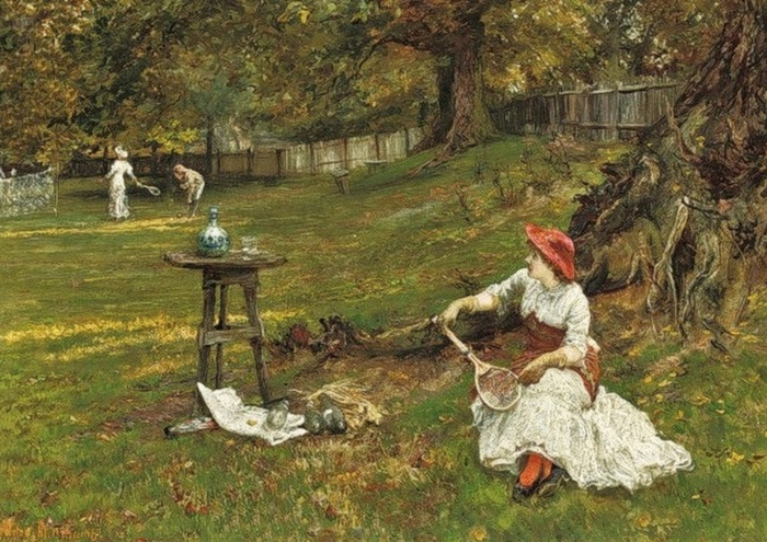 Francis Sydney Muschamp (British artist, 1851-1929) A Game of Tennis (700x495, 313Kb)