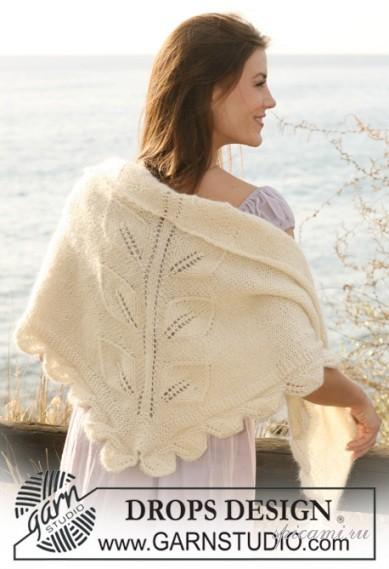 Схема вязания спицами, крючком: шаль для женщины.  Добавьте.