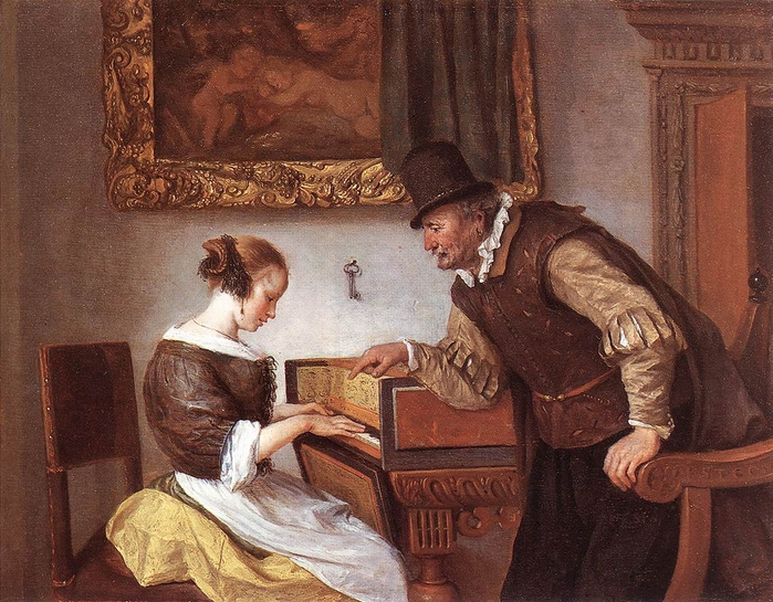 The Harpsichord Lesson by Jan Steen, 1660 (700x545, 343Kb)