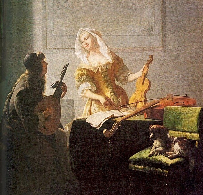 Jacob Ochtervelt (Dutch Baroque Era Painter, 1634-1682) The Music Lesson (with dog) (700x673, 443Kb)