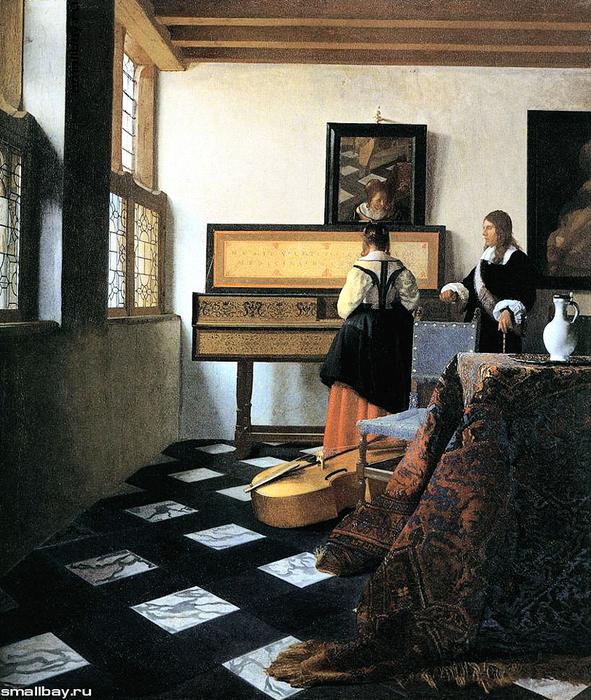 vermeer.Дама у вирджинала и кавалер, 1662-1665 (591x700, 464Kb)