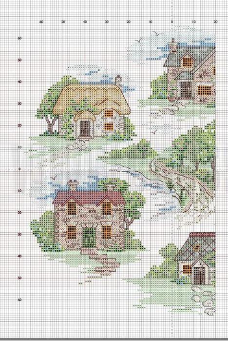 Английский домик схема вышивки 44