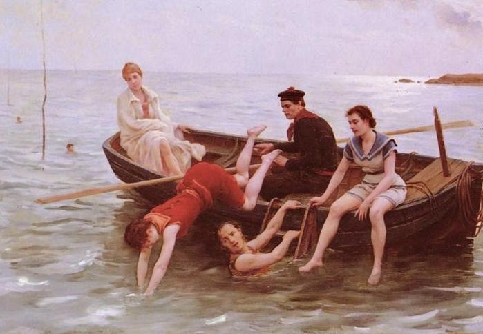 Jules Scalbert (French artist, 1851-1928) Les Baigneuses (700x484, 219Kb)