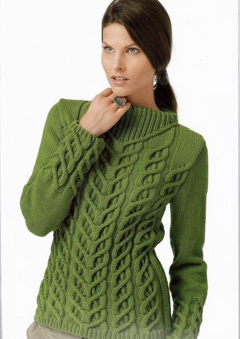 зеленый пуловер с косами (494x700, 82Kb)