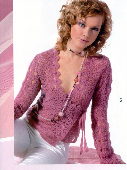 розовая ажурная кофточка (523x700, 129Kb)