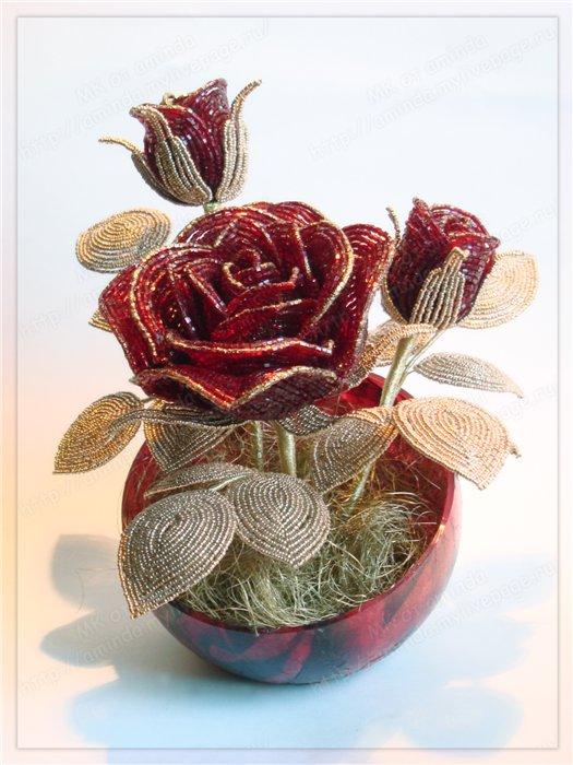 Сохранить в свой цитатник. как сделать розы из бисера, схема плетения роз из бисера, фото мастер класс по плетению...
