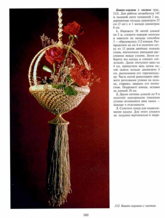 Для создания макраме кашпо для цветов потребуется сто пятьдесят метров льняной нити толщиной около двух миллиметров...