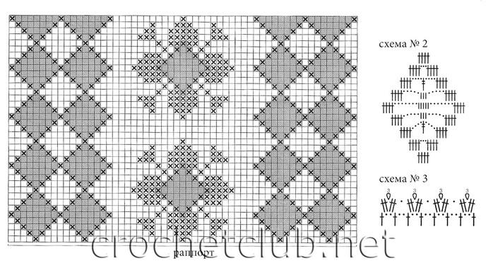схемы скатерти с филейными узорами.