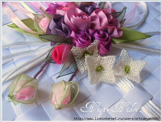 Gradina Edenului: Flori din panglici lucrate manual