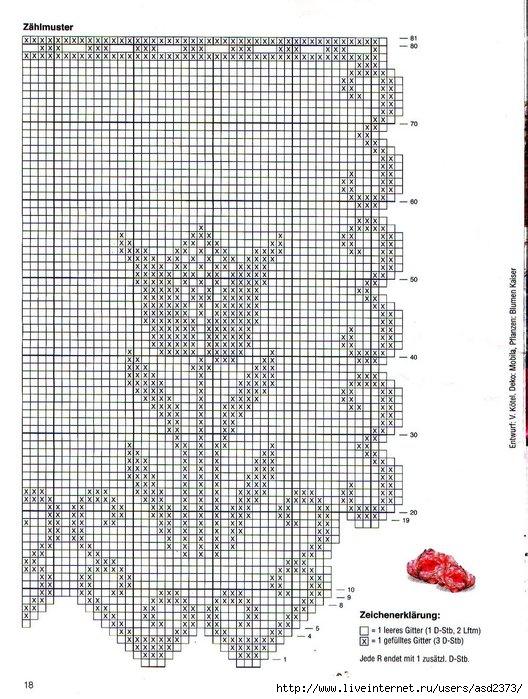 Схема филейное вязание крючком с тюльпанами