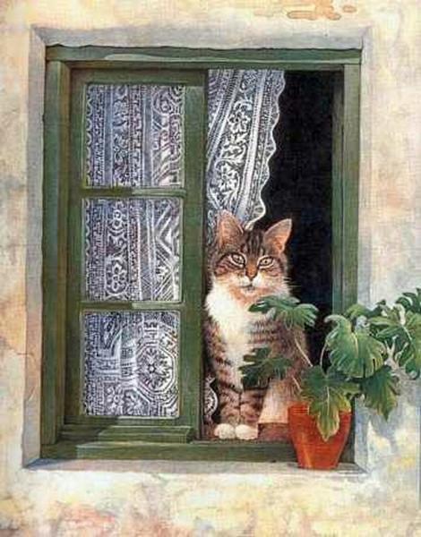 кот на окне (470x600, 96Kb)