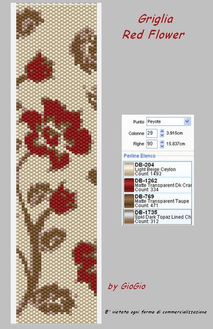 Цветочный орнамент из бисера схема