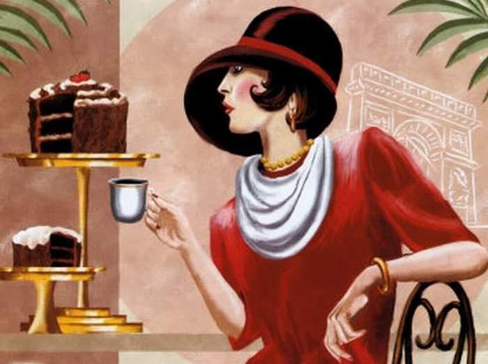 "Схема вышивки  ""Дама за чашкой кофе "" ."